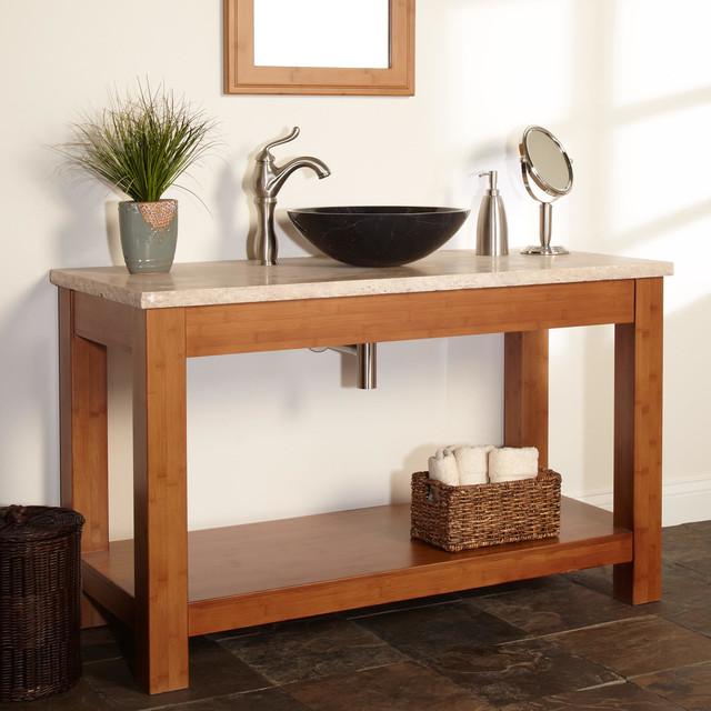 48 kirin bamboo vessel sink console vanity modern for Modern bamboo bathroom vanity