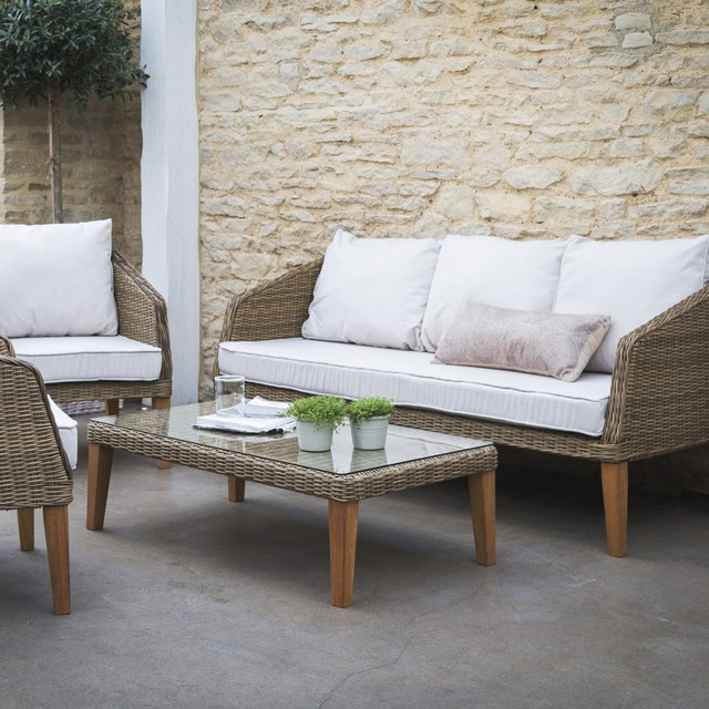 Ambersham Outdoor Teak Rattan Furniture Set Contemporary Garden Lou