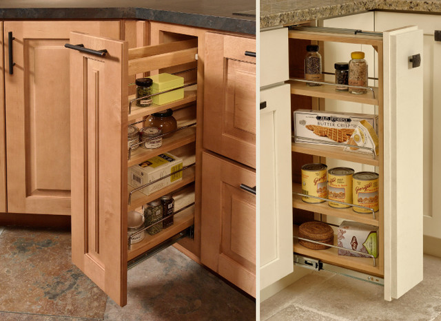 Pull out cabinet traditional kitchen for Traditional kitchen shelves