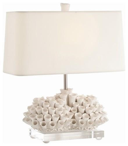 Arteriors Cassidy Satin White Porcelain Acrylic Lamp