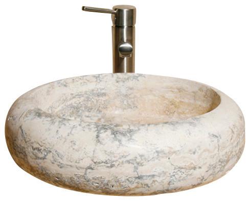 V Vrr18 Gold Travertine Honed Vessel Sink Traditional