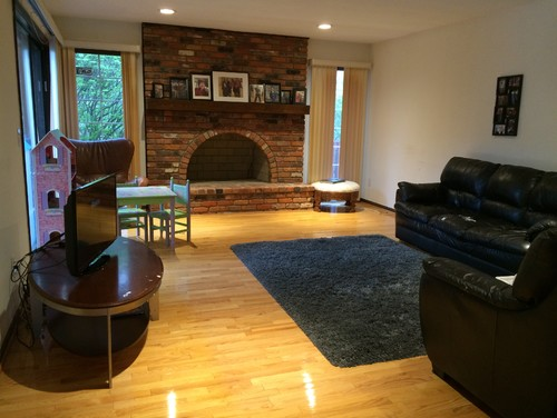 Redecorate family room with brick fireplace for Redecorating family room