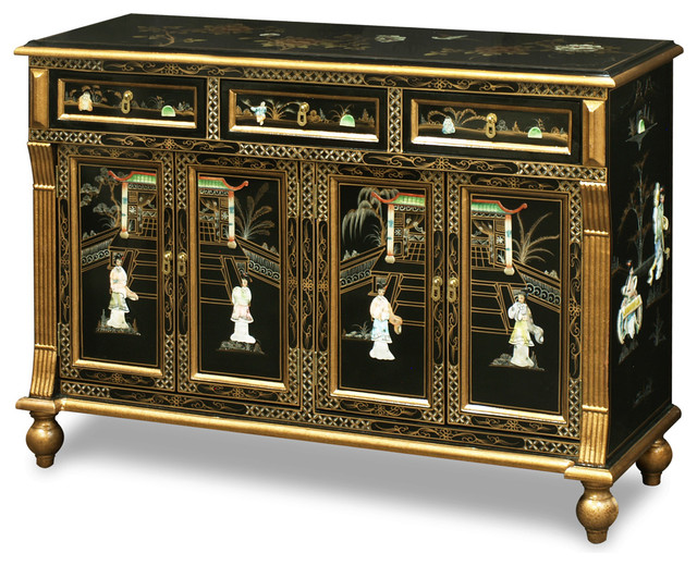 Black lacquer mother of pearl motif sideboard asian for Chinese art furniture
