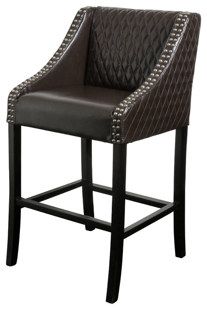 Filton Quilted Leather Counter Stool Brown Contemporary