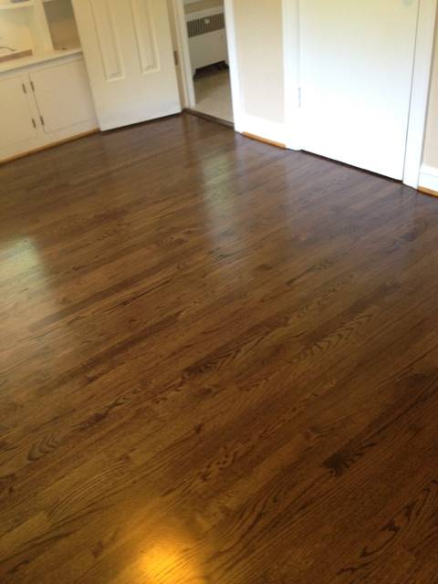 Red oak wood floors with jacobean stain for Traditional flooring
