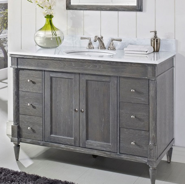 Fairmont rustic chic 48 vanity only silvered oak for Bathroom consoles and vanities