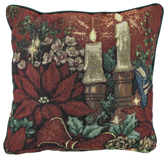 Evening Solitude II Christmas Tapestry Decorative Throw Pillow 17in. - Traditional - Decorative ...