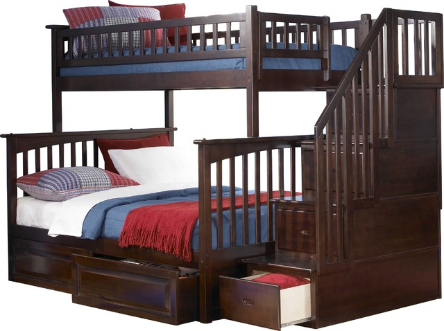 wood twin over full bunk bed in antique walnut finish modern bunk beds
