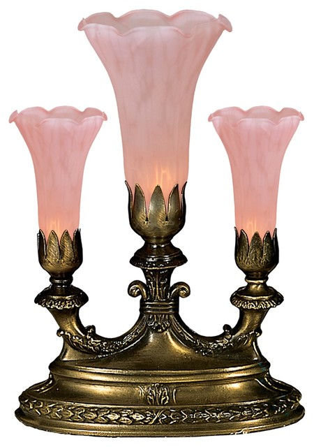 Meyda Tiffany Mantelabra 3-Light Petal Pink Lily Accent Lamp X-42911 - Traditional - Table Lamps ...