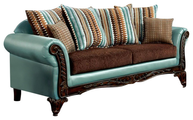 Mulligan teal leatherette dark brown fabric sofa and for Teal and brown chair