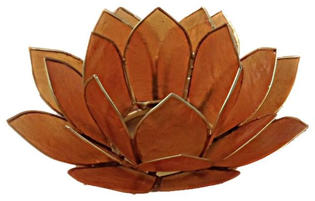 Capiz shell lotus tea light candle holder amber orange beach style candles and - Capiz shell tealight holder ...