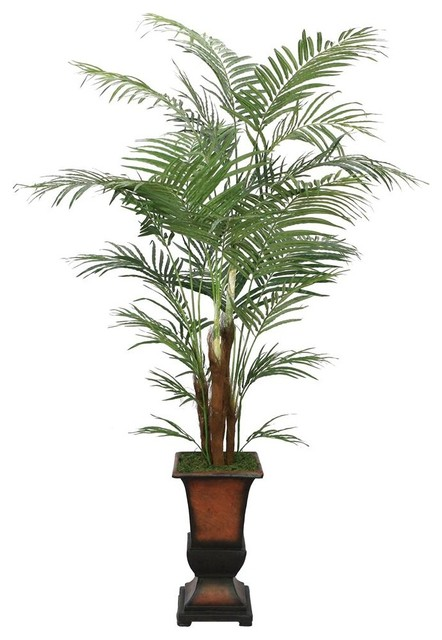 Laura Ashley 7 ft. Silk Areca Palm Tree w Decorative Planter - Contemporary - Artificial Flowers ...