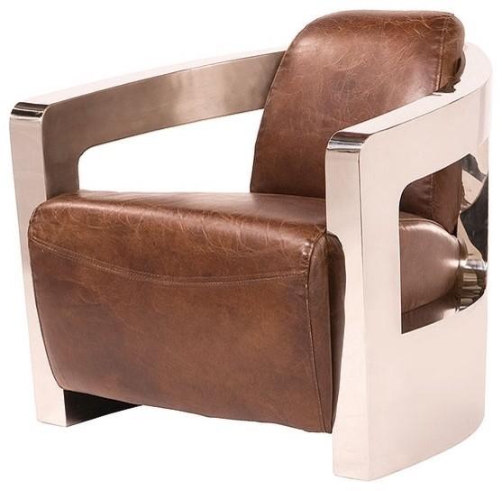 Sinclair Club Chair Metal Arms Contemporary Armchairs