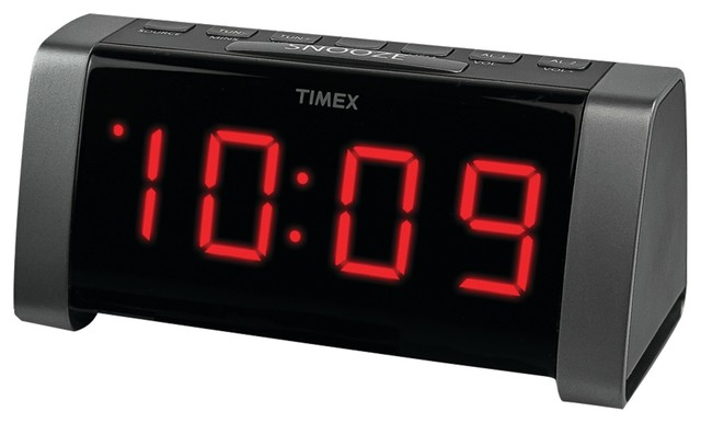 timex am fm dual alarm clock radio jumbo 1 8 led display and aux input black modern alarm. Black Bedroom Furniture Sets. Home Design Ideas