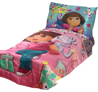 dora explorer create art satin 4 piece toddler bedding set