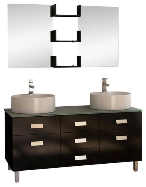 Wellington 55 Double Sink Vanity Set In Espresso Modern Bathroom Vanities And Sink Consoles