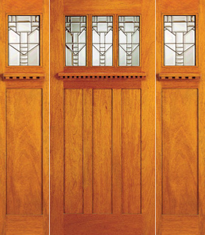 Mission style mahogany prehung three lite door and two for Arts and crafts style front door
