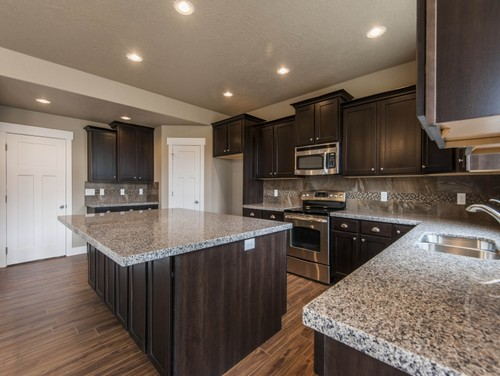 ... Countertop And New Caledonia Granite Island Top. Picture ...