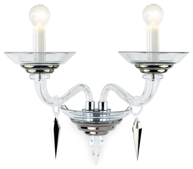 Modern Crystal Wall Sconces : Crystal Glass Sconce - Modern - Wall Sconces - by Inviting Home Inc