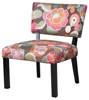 Pink And Brown Floral Accent Chair Contemporary Living Room Chairs By A