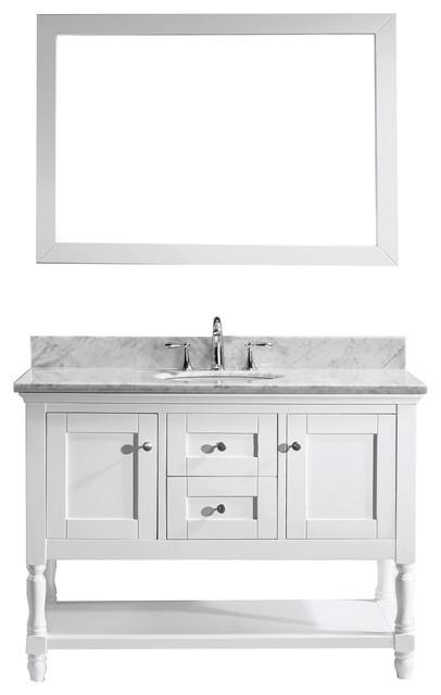 Julianna 48 Single Bathroom Vanity Cabinet Set White Single Round Sin