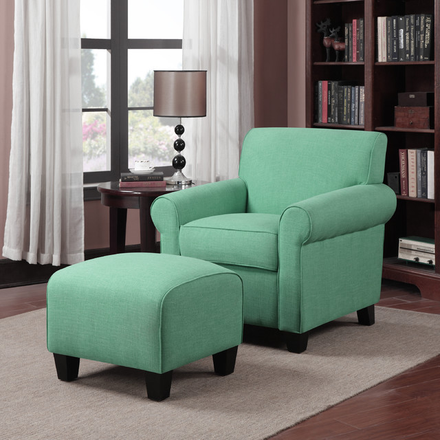 Portfolio Mira Soft Emerald Green Linen Arm Chair And Accent