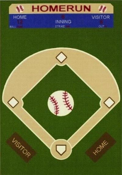Baseball Bathroom Rug Kids Baseball Feild Printed Carpet Area Rug Green 3  39 3 X5 .