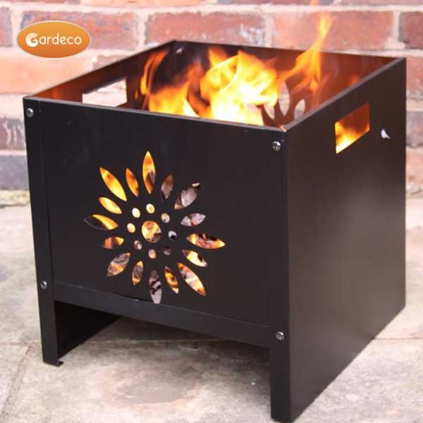 Oban square steel flower patterned fire pit by gardeco for Flower fire pit