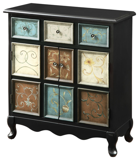 Distressed Black Multi-Color Apothecary Bombay Chest - Farmhouse - Accent Chests And Cabinets