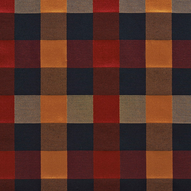 Wine Green Gold Blue Large 4 Color Check Faux Silk