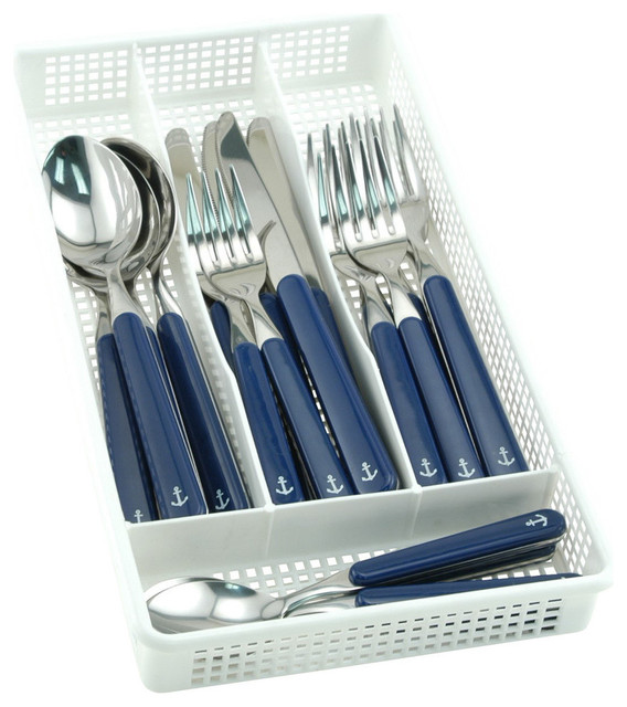 Blue Anchor Flatware With Storage Tray 20 Piece Set