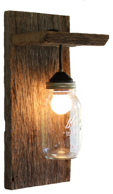 Wall Mounted Fruit Jar Lights : Wood Mason Jar Light Fixture, Without Rope Detail - Rustic - Wall Sconces - by Grindstone Design