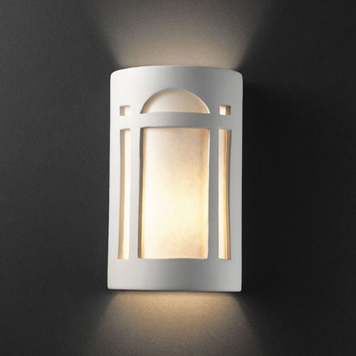 Large Bathroom Wall Sconces : Ambiance Bisque Large Arch Window Two-Light Bathroom Wall Sconce - Modern - Bathroom Vanity Lighting