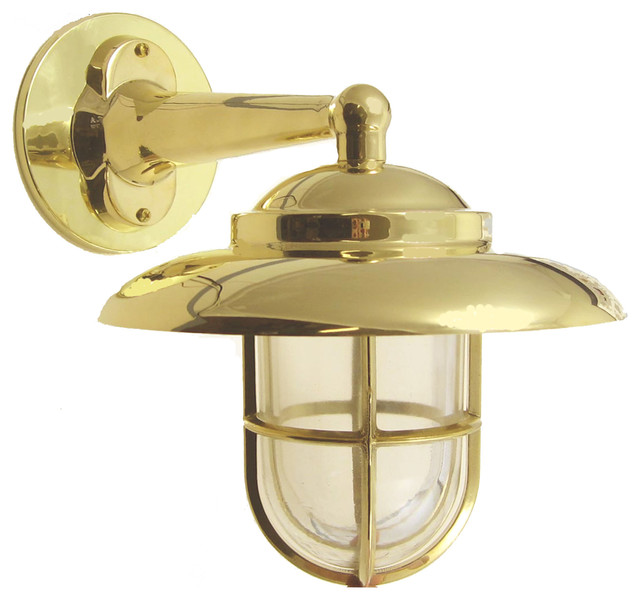 Hooded Wall Light With Cage Solid Brass Interior Exterior By Shiplights Beach Style