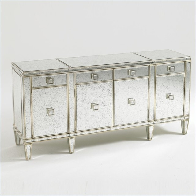 Aquarius Polaris Mirrored Buffet In Antique Mirror Gold