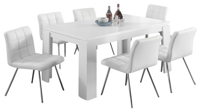 White Hollow Core 7 Piece Dining Room Set With White Chairs Contemporary