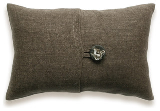 ... Linen Lumbar Pillow Cover 12x18 inch Faux Horn Button DREA DESIGN