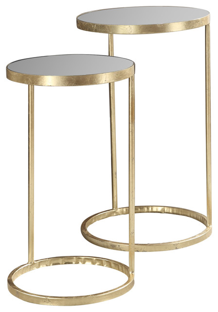 Gold Nesting Tables ~ Gold coast piece round nesting mirror end tables side