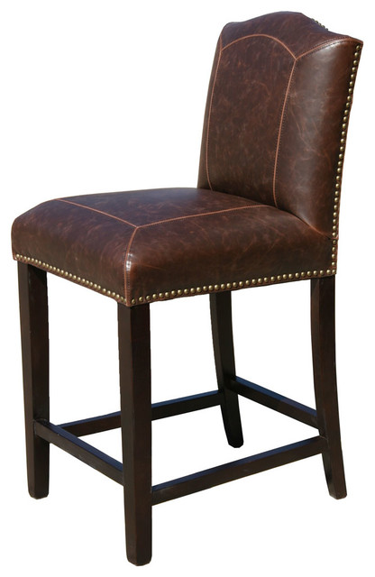 winslow leather stool distressed brown counter height transitional bar stools and counter. Black Bedroom Furniture Sets. Home Design Ideas