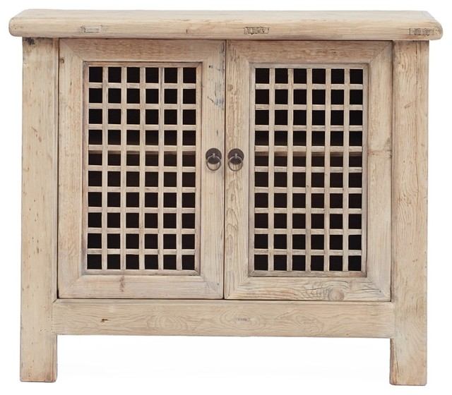 Small T.V Cabinet With Lattice Doors - Beach Style - Nightstands And Bedside Tables - by Terra ...