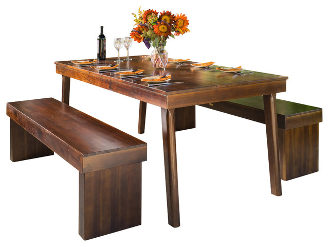 Salvador 3piece Mahogany Stained Wood Table And Bench
