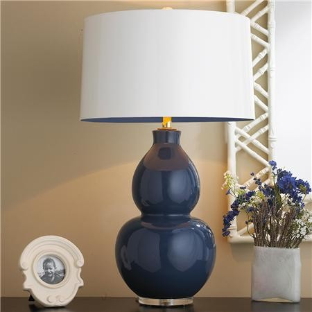 modern ceramic table lamp navy with navy lining modern table lamps. Black Bedroom Furniture Sets. Home Design Ideas