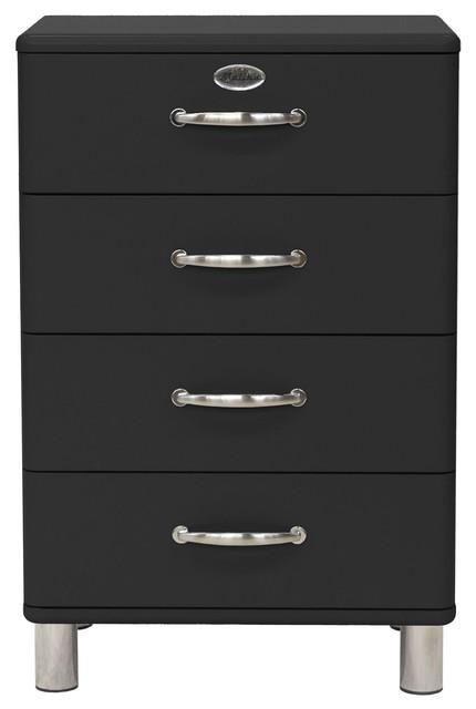 malibu chiffonnier vintage 4 tiroirs noir 60cm r tro. Black Bedroom Furniture Sets. Home Design Ideas
