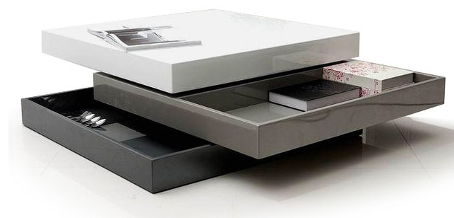 Contemporary Transforming Square Coffee Table With Storage Kanu Modern Coffee Tables Other