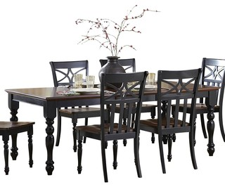 Homelegance sanibel extension dining table in black and for Traditional dining table uk
