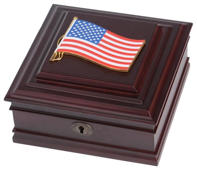 American Flag Medallion Desktop Box Traditional Desk Accessories