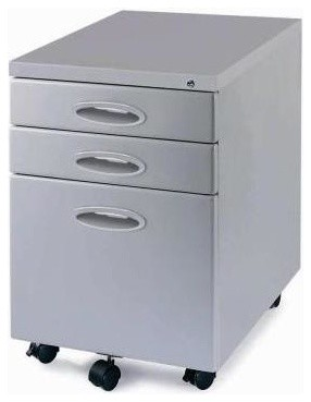 Mobile File Cabinet In Light Grey - Contemporary - Filing Cabinets