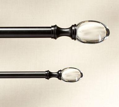 Pb Standard 75 Diam Drape Rod Double Xl Antique Bronze Finish Glass Ball F Traditional