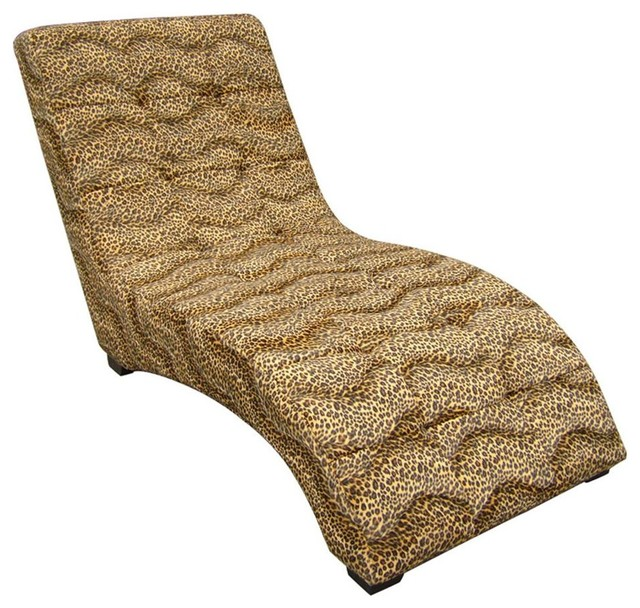Modern chaise with leopard print contemporary chaise for Animal print chaise