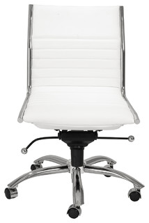 Dirk low back office chair armless white and chrome contemporary office chairs by dining - Armless office chairs uk ...